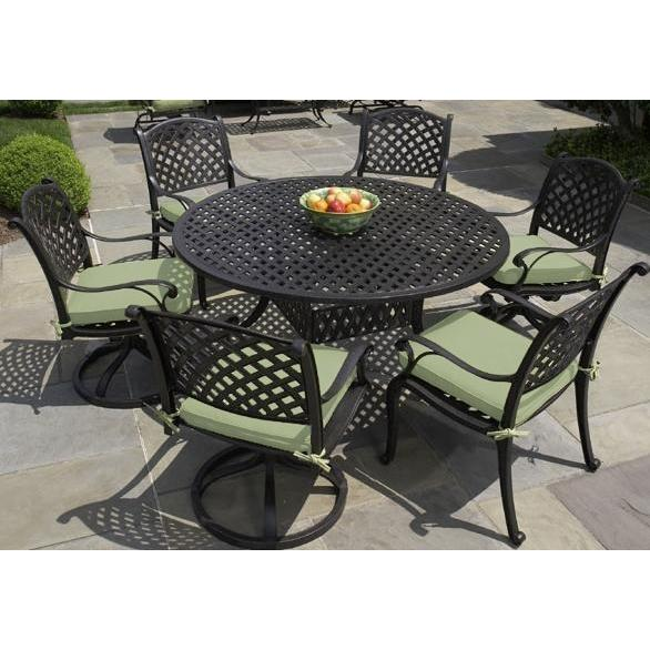 Alfresco Home Long Cove 60 Inch Round Dining Set - Antique Fern