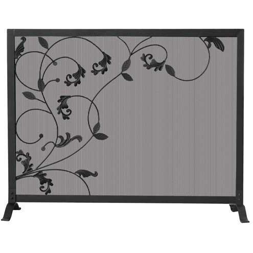UniFlame 39 Inch Black Wrought Iron Three Panel Fireplace Screen With Flowing Leaf Design