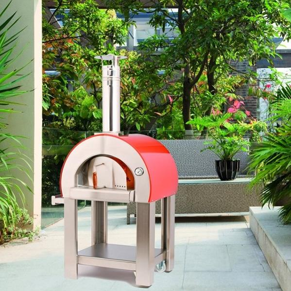 Alfa Forno 5 Minuti Wood Burning Pizza Oven On Cart - Red