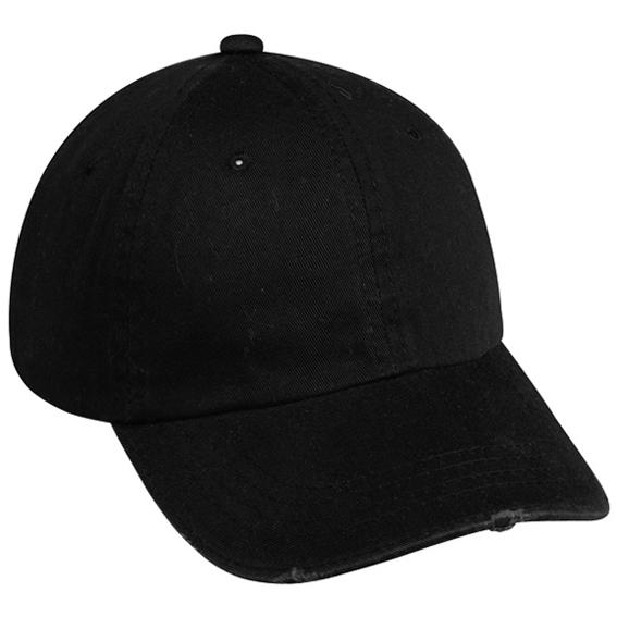 Outdoor Cap Garment Washed Twill Frayed Visor Cap - Black, Discount ID GWT-222-001