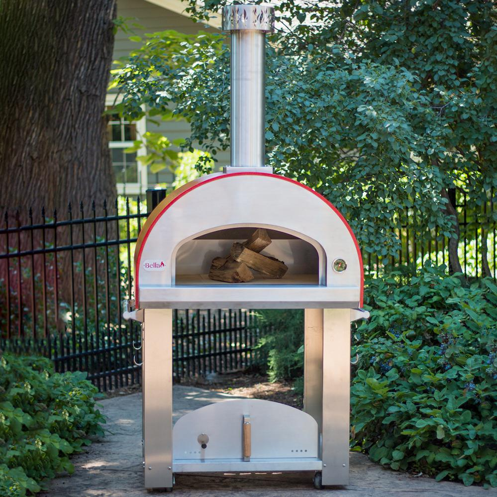 "Bella Outdoor Living Bella Grande 32"" Outdoor Wood-fired Pizza Oven On Cart - Red - Begs32r"