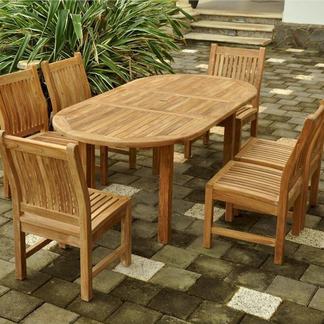 Anderson Teak Bahama 6-person Teak Patio Dining Set With Extension Table