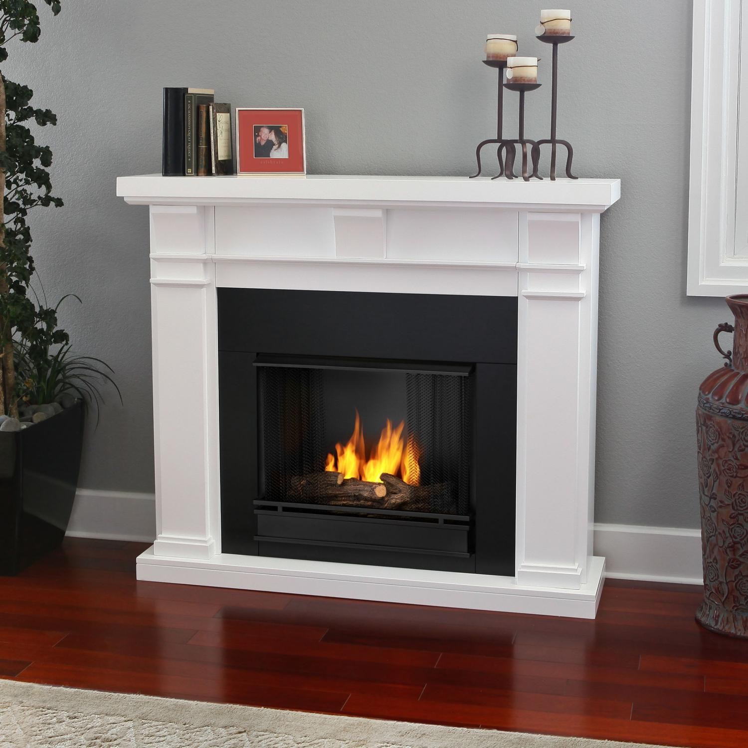 Real Flame Porter 49-Inch Gel Fireplace - White