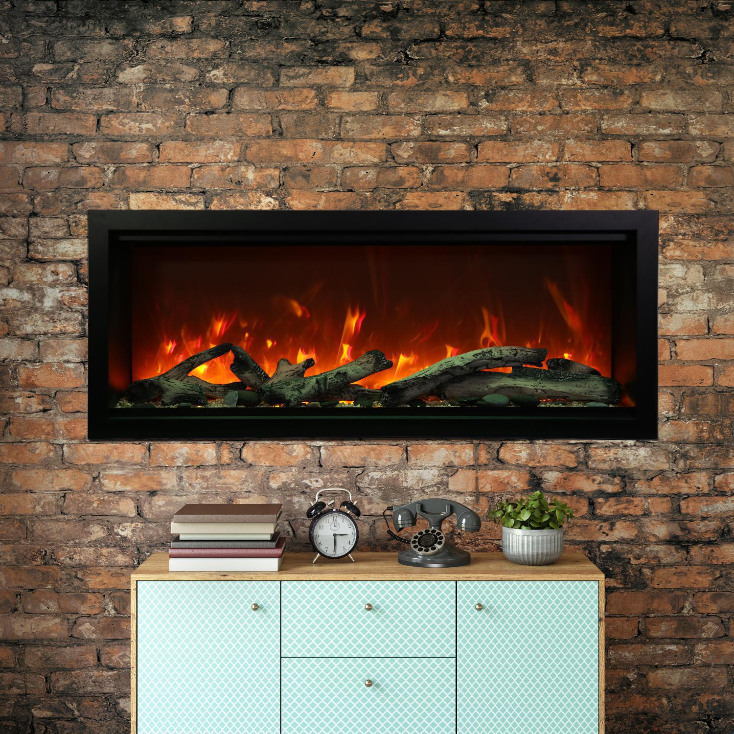 """Amantii Symmetry Series Extra Tall 50"""" Built-in Electric Fireplace With Black Steel Surround - Driftwood Logs - Indoor/outdoor - Sym-50-xt"""