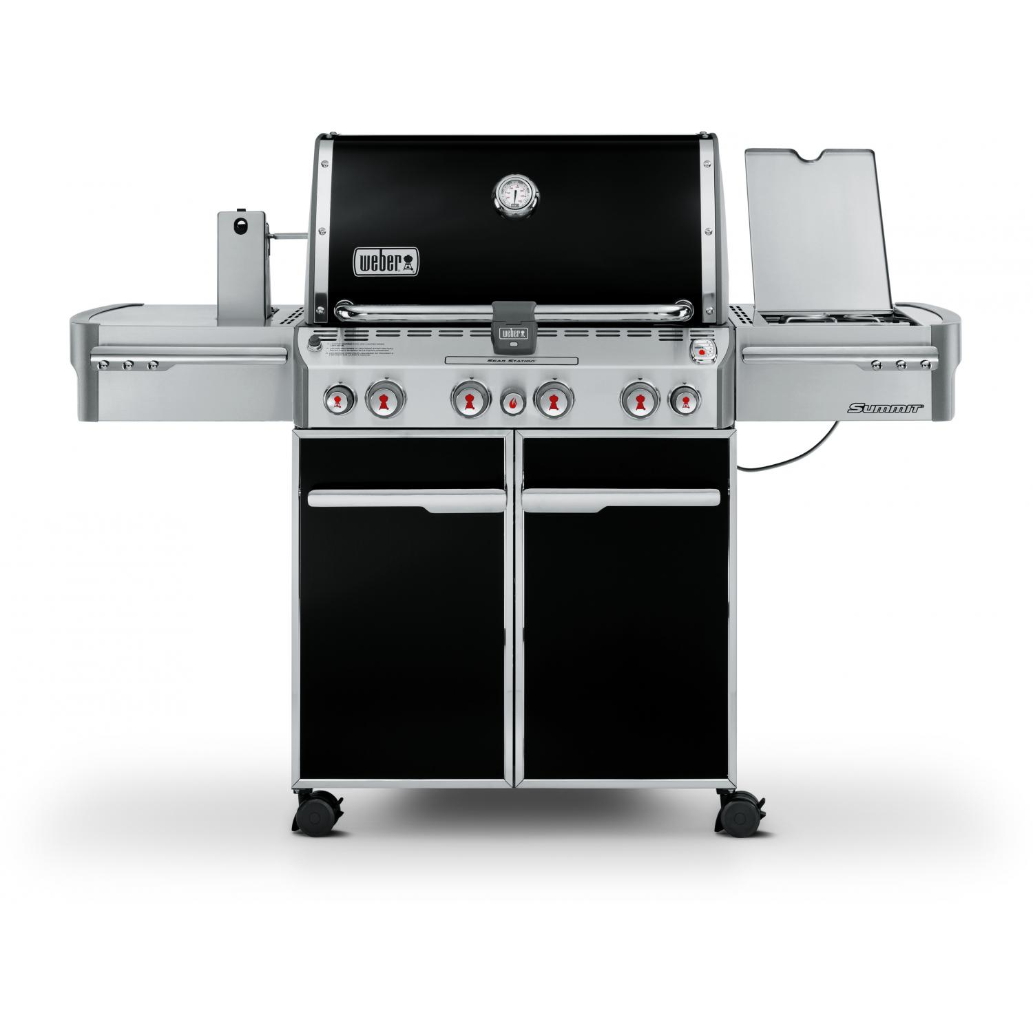 Weber Summit E-470 Propane Gas Grill On Cart With Rotisserie, Sear Burner & Side Burner - Black 2678708