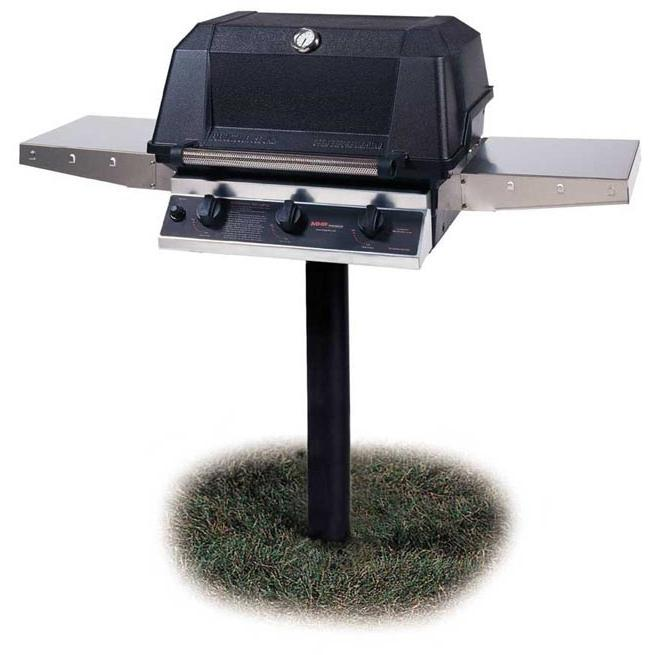 MHP Gas Grills W3G4DD Natural Gas Grill W/ SearMagic Grids On In-Ground Post