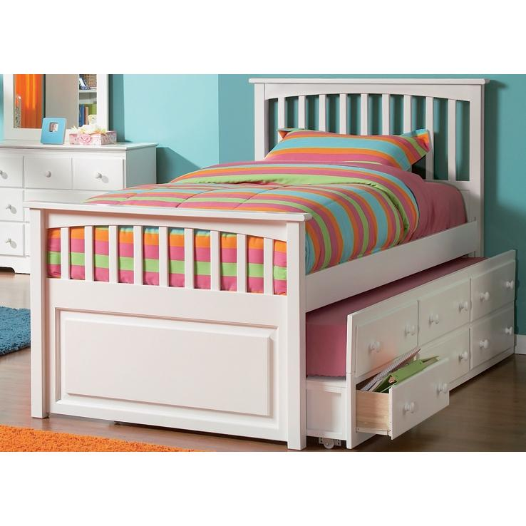 Atlantic Furniture 3013230 Full Size Mates Bed White W/ Underbed Storage Chest