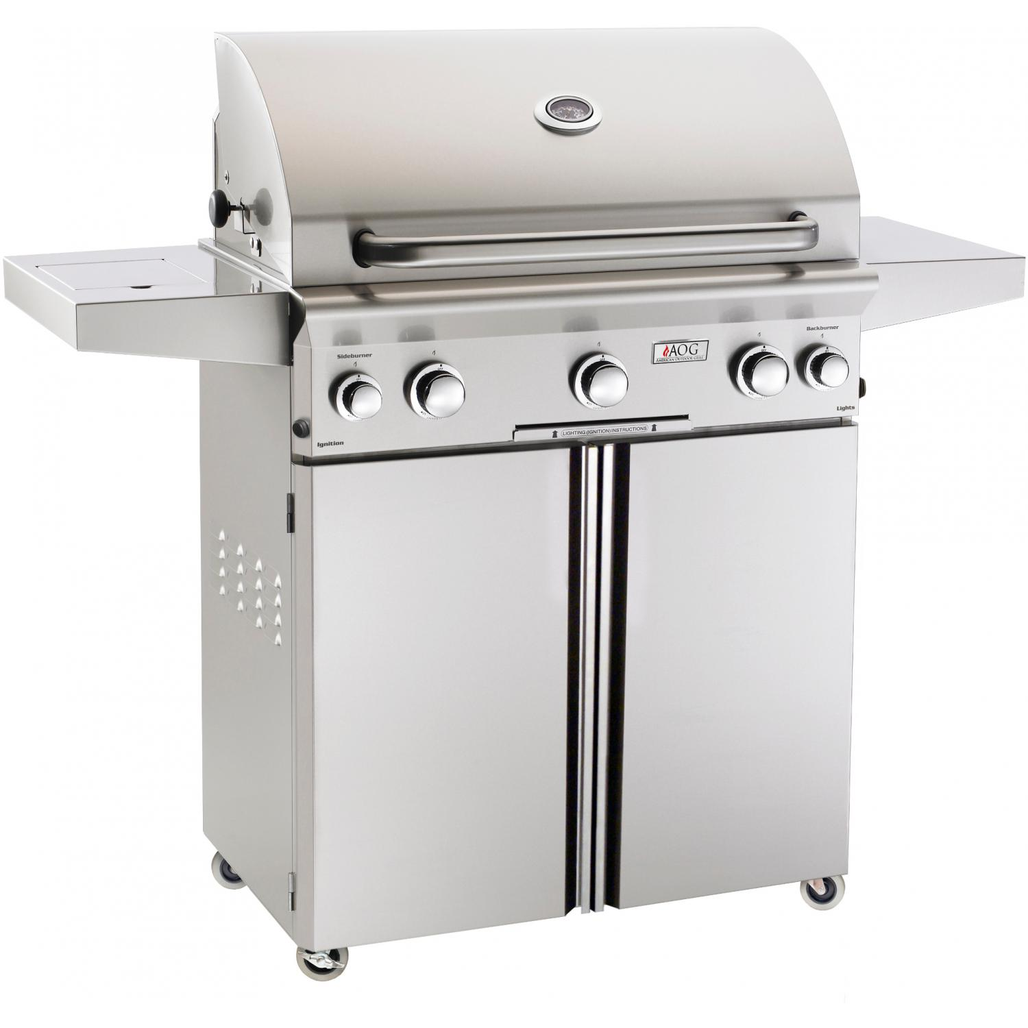 American Outdoor Grill L-Series 30-Inch Propane Gas Grill On Cart W/ Rotisserie & Side Burner 2894438