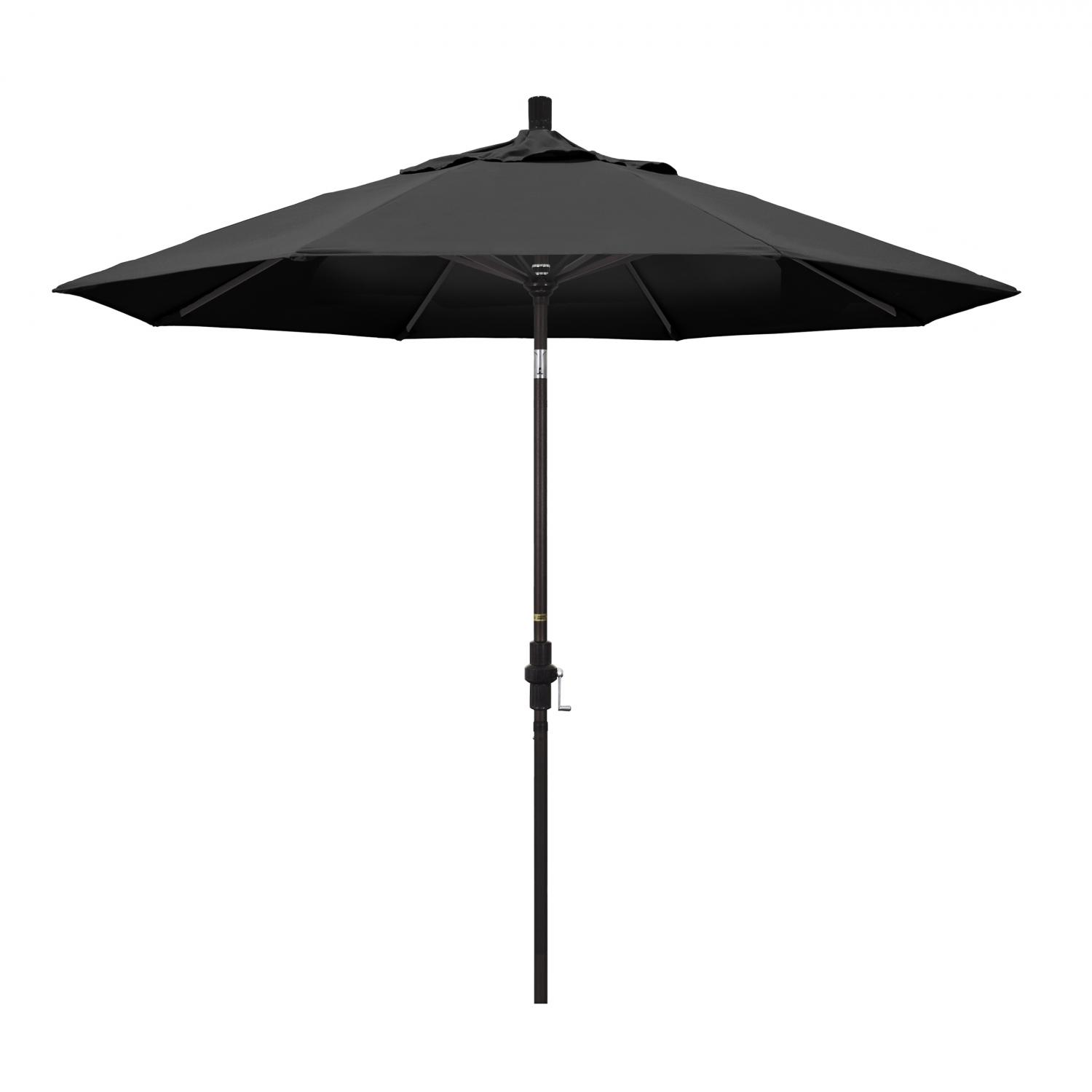 California Umbrella 9 Ft. Octagonal Aluminum Collar Tilt Patio Umbrella W/ Crank Lift & Aluminum Ribs - Bronze Frame / Olefin Black Canopy