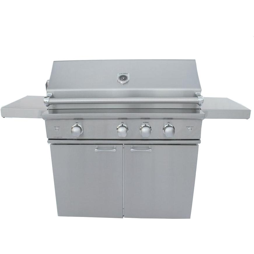 Caliber Crossflame Silver 41-inch Natural Gas Grill On Cart With Sear Burner And Rotisserie - Stainless Steel Handle
