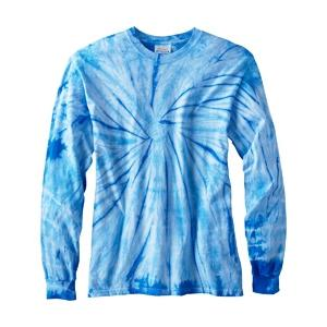 Tie-Dye 100 Percent Cotton Long Sleeve T-Shirt 2XL - Spider Baby Blue