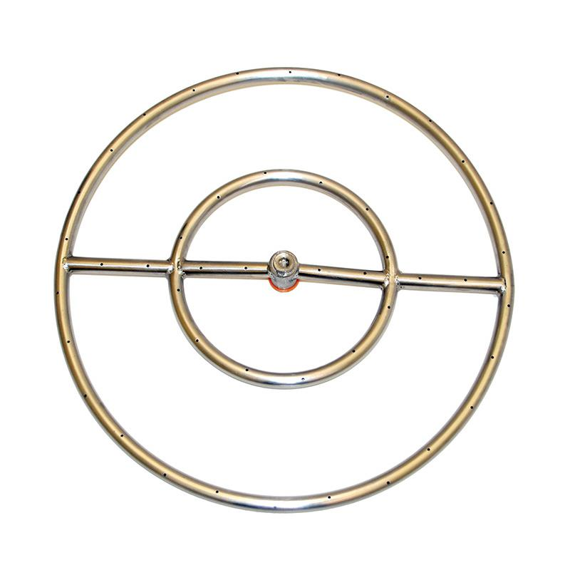 HPC 24-Inch Natural Gas Fire Pit Kit With Round Stainless...