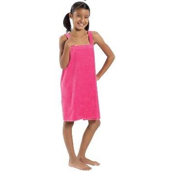 Terry Town Girls Terry Velour Body Wrap Towel Medium - Hot Pink