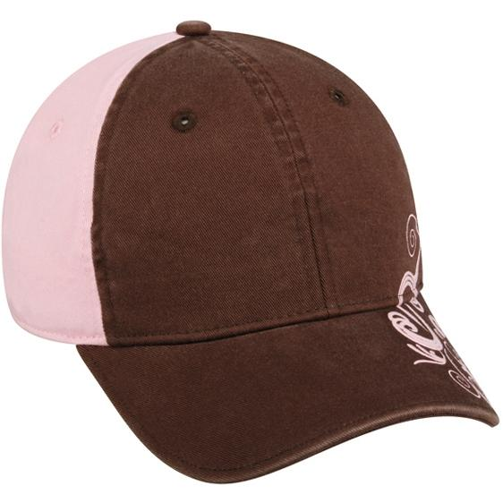 Outdoor Cap Ladies Decorative Style 2-Tone Cap - Brown / Pink, Discount ID LWT-600-989