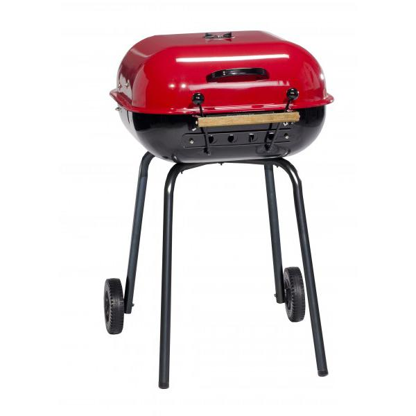 MECO Charcoal BBQ Grill With Wheels - Red - 4100