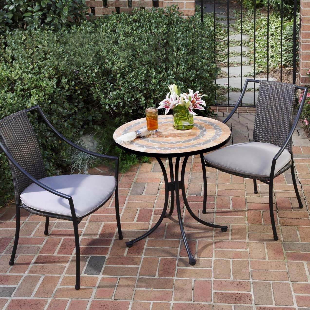 Home Styles Laguna 2-person Resin Wicker Patio Bistro Set With Mosaic Table Top - Black at Sears.com