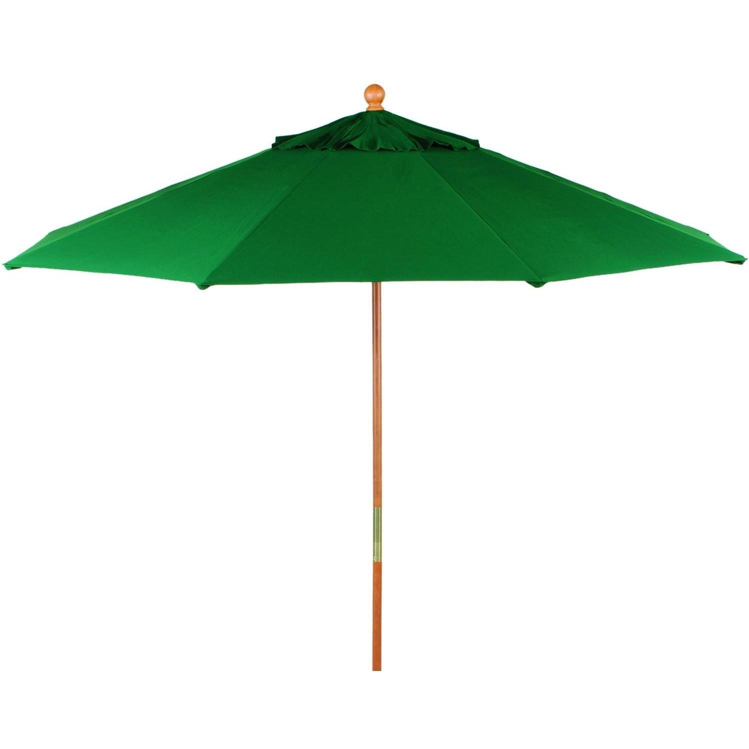 Oxford Garden 9 Ft. Octagon Wood Patio Umbrella With Pulley - Canvas Hunter Green