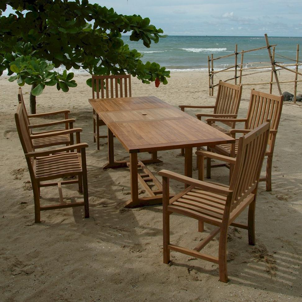 Anderson Teak Bahama Wilshire 6-person Teak Patio Dining Set With Extension Table