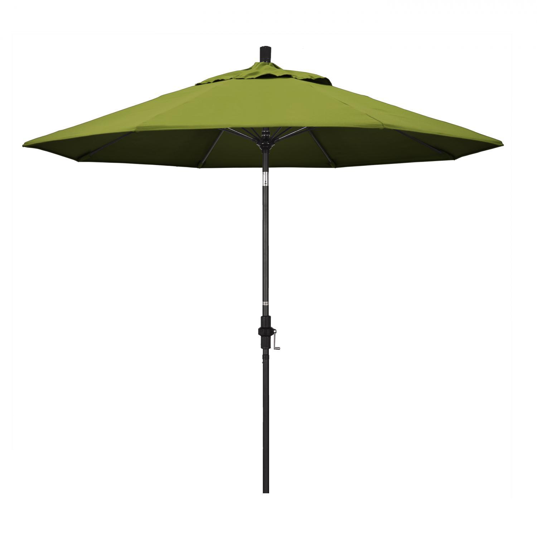 California Umbrella 9 Ft. Octagonal Aluminum Collar Tilt Patio Umbrella W/ Crank Lift & Fiberglass Ribs - Matted Black Frame / Olefin Kiwi Canopy