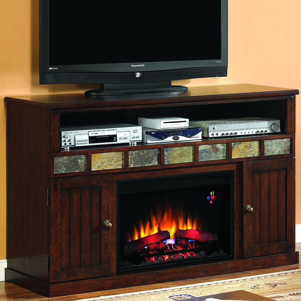 Margate 55-inch Electric Fireplace Media Console - Caramel Oak - 26mm1754