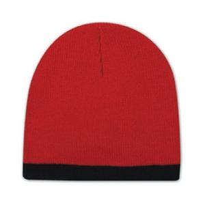 Otto Cap 8 Inch Acrylic Knit Trimmed Beanie - Red/Black