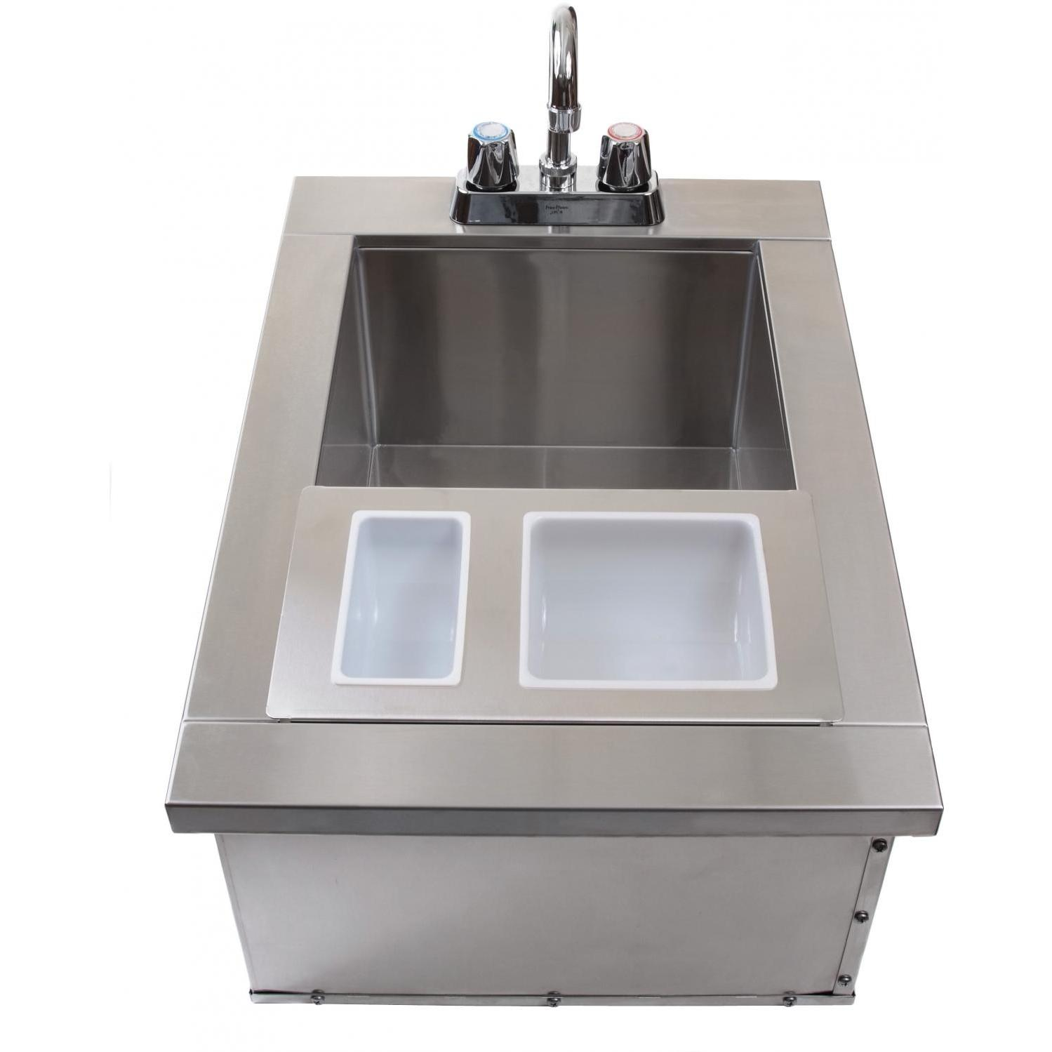 BBQ Guys Drop In Bar Sink With Faucet & Condiment Holders