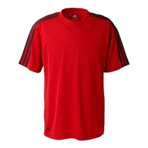Adidas Golf Mens ClimaLite 3-Stripes Golf Tee 2XL - University Red/White