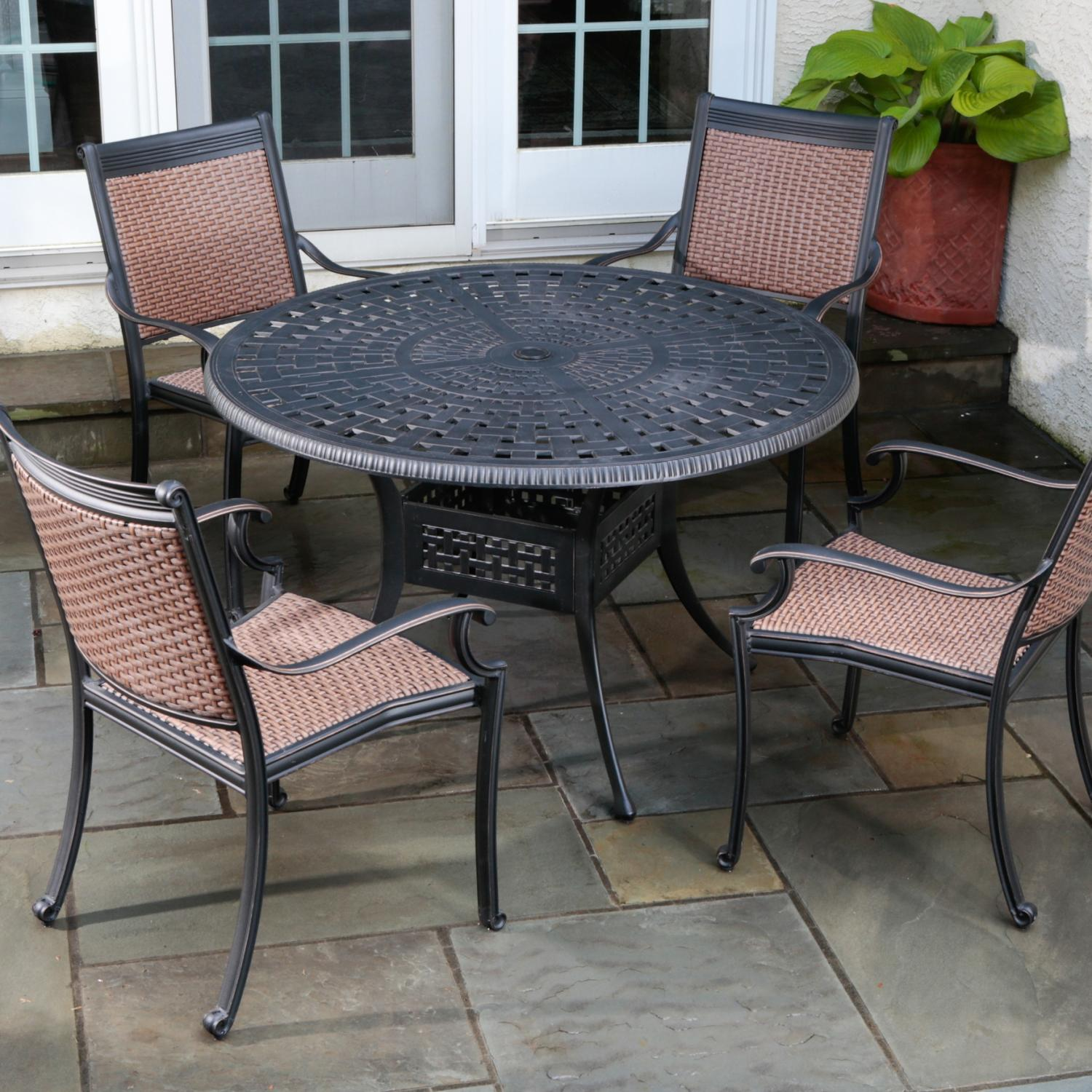 Alfresco Home Pilot 4 Person All Weather Wicker Dining Set