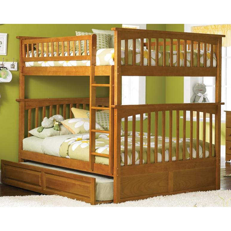 Atlantic Furniture 2021705 Columbia Twin / Full Bed Caramel Latte W/ Trundle