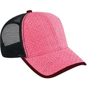 Otto Cap Toyo Straw Low Profile Mesh Back Pro-Style Sport Cap - Hot Pink/Black