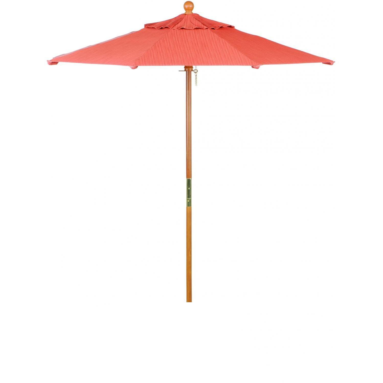 Oxford Garden 6 Ft. Octagon Wood Patio Umbrella With Push Lift - Dupione Papaya