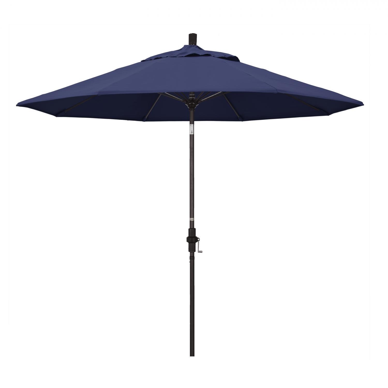 California Umbrella 9 Ft. Octagonal Aluminum Collar Tilt Patio Umbrella W/ Crank Lift & Fiberglass Ribs - Bronze Frame / Olefin Navy Blue Canopy