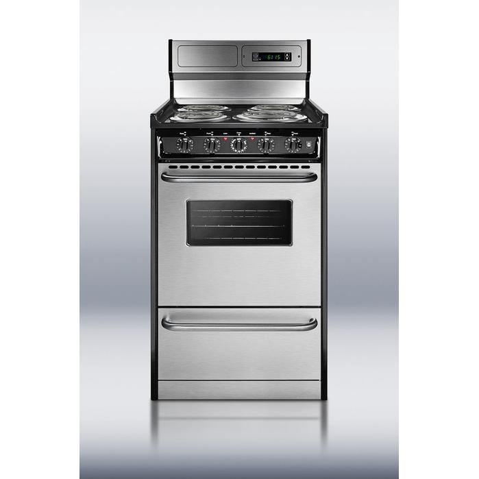 Summit Professional Series TEM130BKWY 20-Inch Freestanding Electric Range - Black