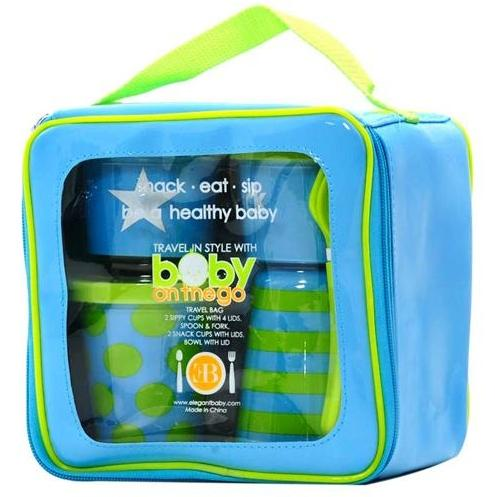 Elegant Baby On The Go Feeding Set - Blue/Green