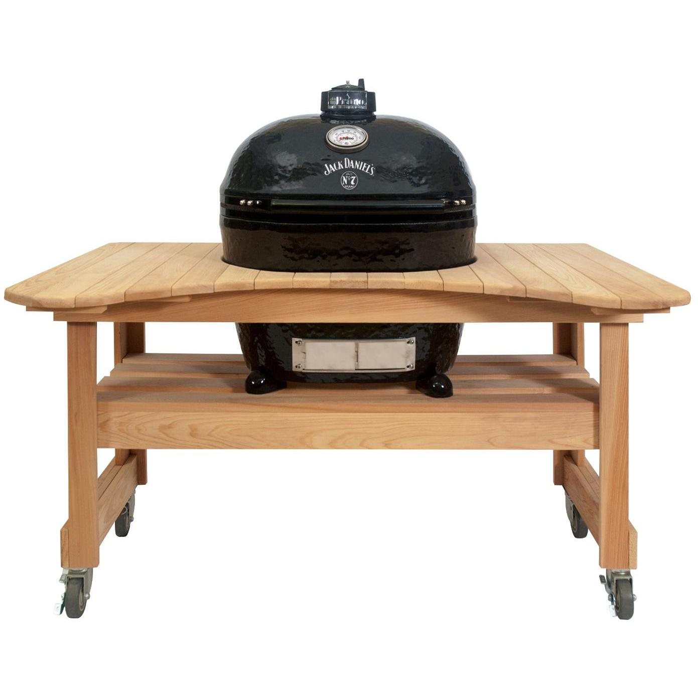 Primo Jack Daniels Edition Oval XL Ceramic Kamado Grill On Curved Cypress Table - 900 + 600
