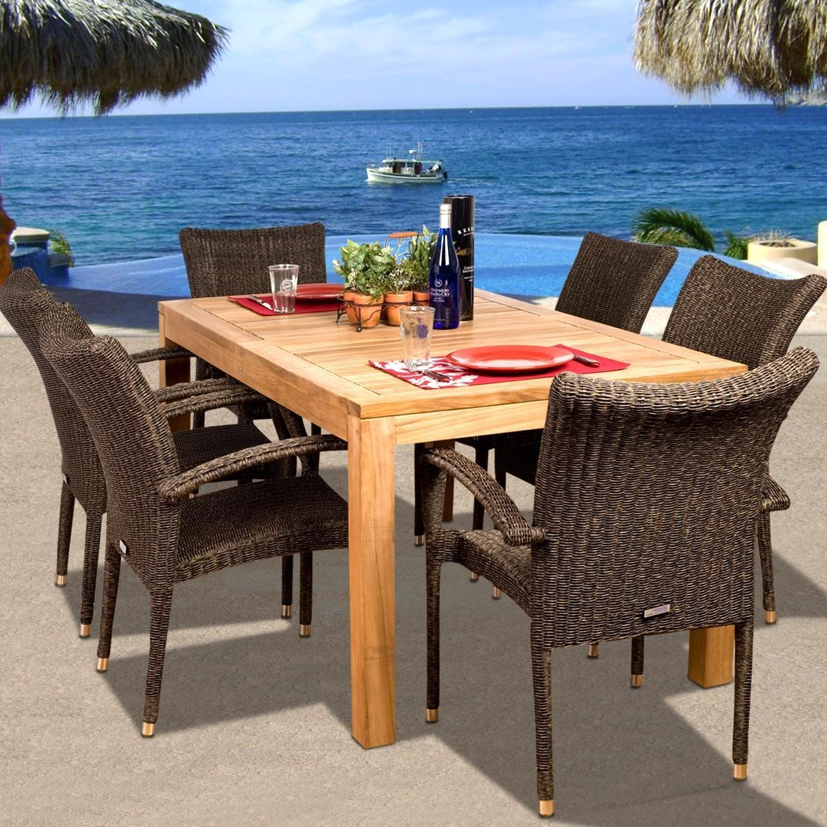 Amazonia Teak Brussels 6-person Resin Wicker Patio Dining Set With Stacking Chairs