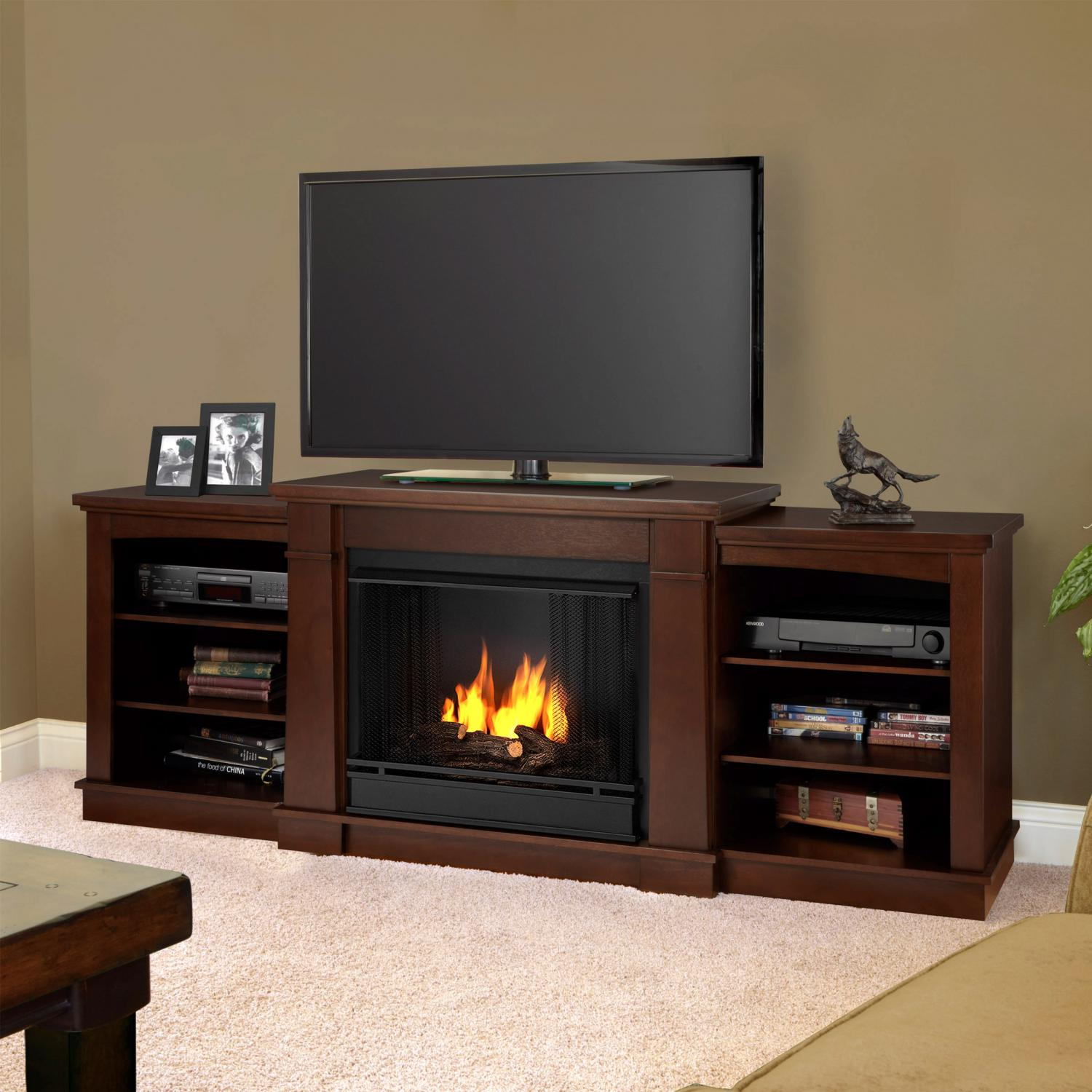 Real Flame Hawthorne 74-Inch Gel Fireplace - Dark Espresso