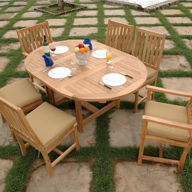 Anderson Teak Wilshire 6-person Teak Patio Dining Set With Extension Table