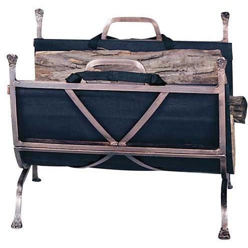 UniFlame Antique Copper Wrought Iron Log Rack With Canvas Carrier