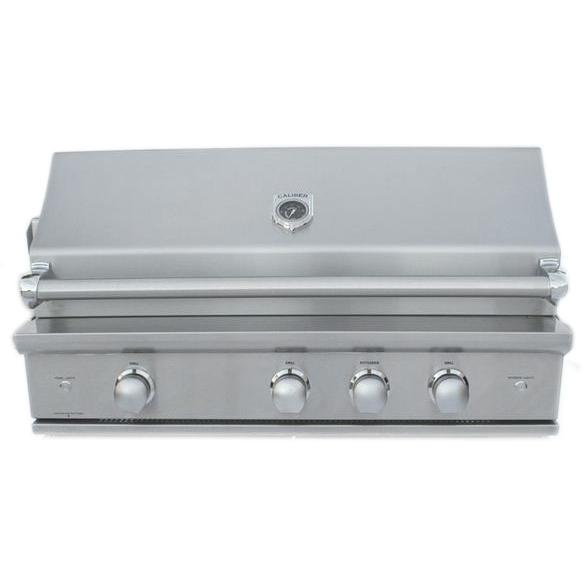 Caliber Crossflame Silver 41-inch Built-in Propane Gas Grill With Sear Burner And Rotisserie - Stainless Steel Handle
