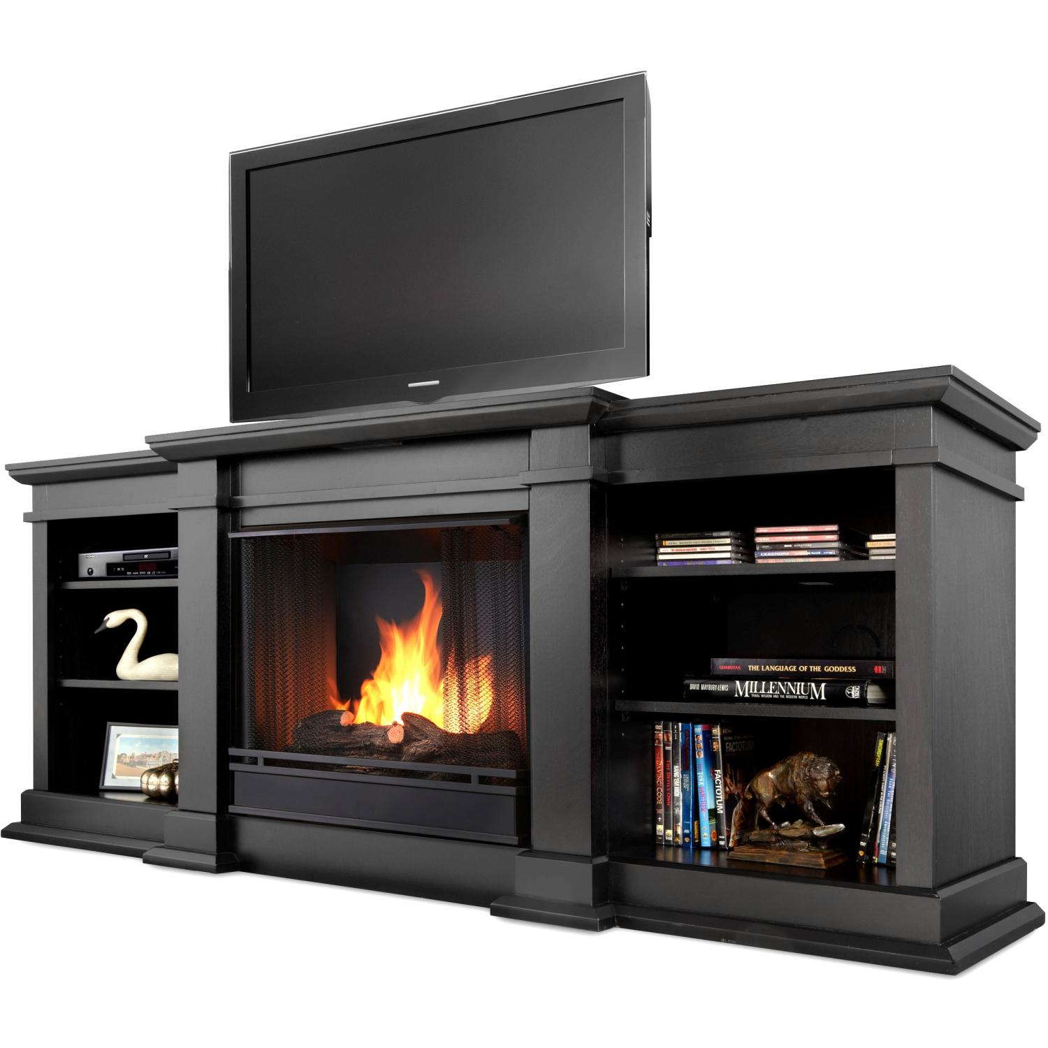 Real Flame Fresno 71-Inch Gel Fireplace Media Console - Black