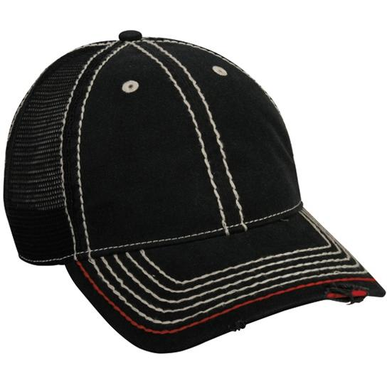 Outdoor Cap Heavy Construction Stitch Cap Black