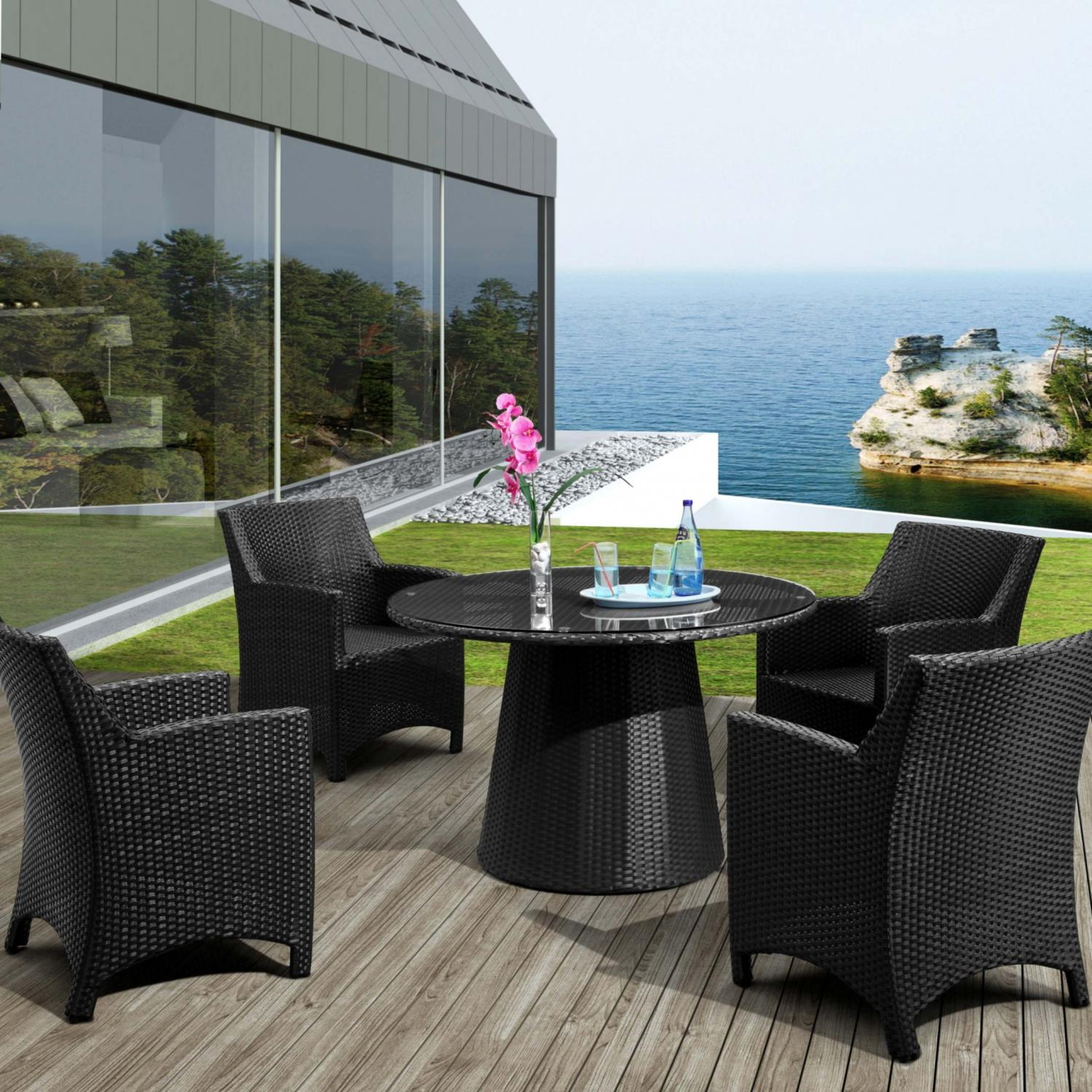 Zuo Modern Avalon Patio Dining Set With Glass Top Table - Seats 4 at Sears.com