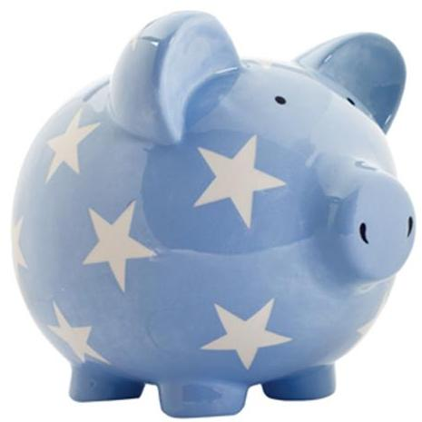 Elegant Baby Classic Piggy Bank - Light Blue/White Star