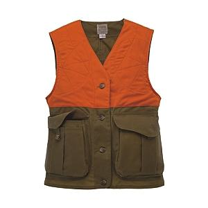 Filson Womens Upland Vest - Tan / Blaze Orange - Small