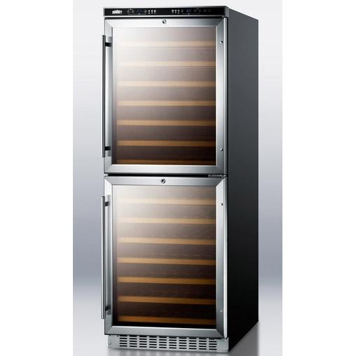 Summit SWC1875 108 Bottle Wine Cellar - Black Cabinet / Stainless Steel Trim