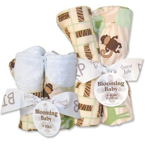 Trend Lab Bib And Burp Cloth Set - Jungle Jam