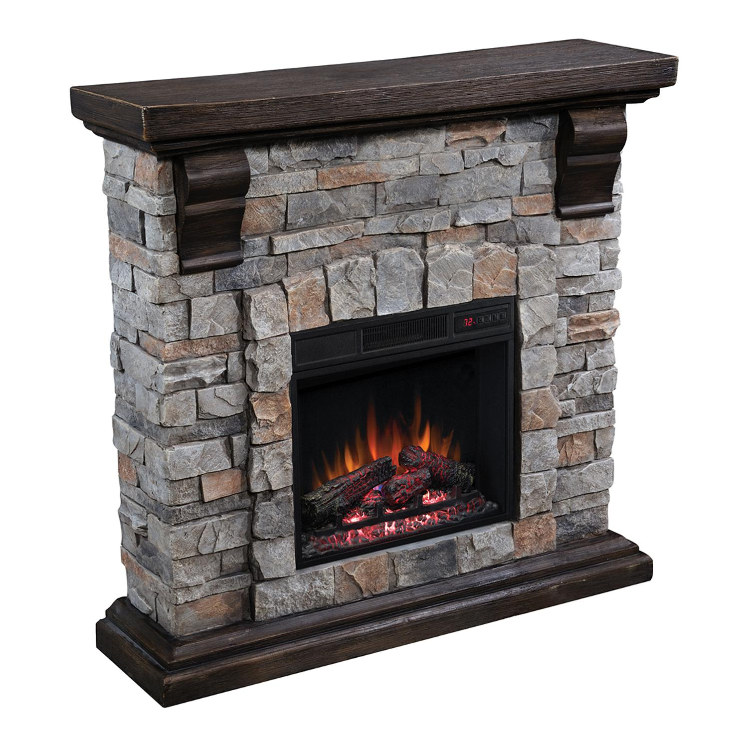 "Classicflame Pioneer 40"" Electric Fireplace Mantel Package - Brushed Dark Pine - 90679f"