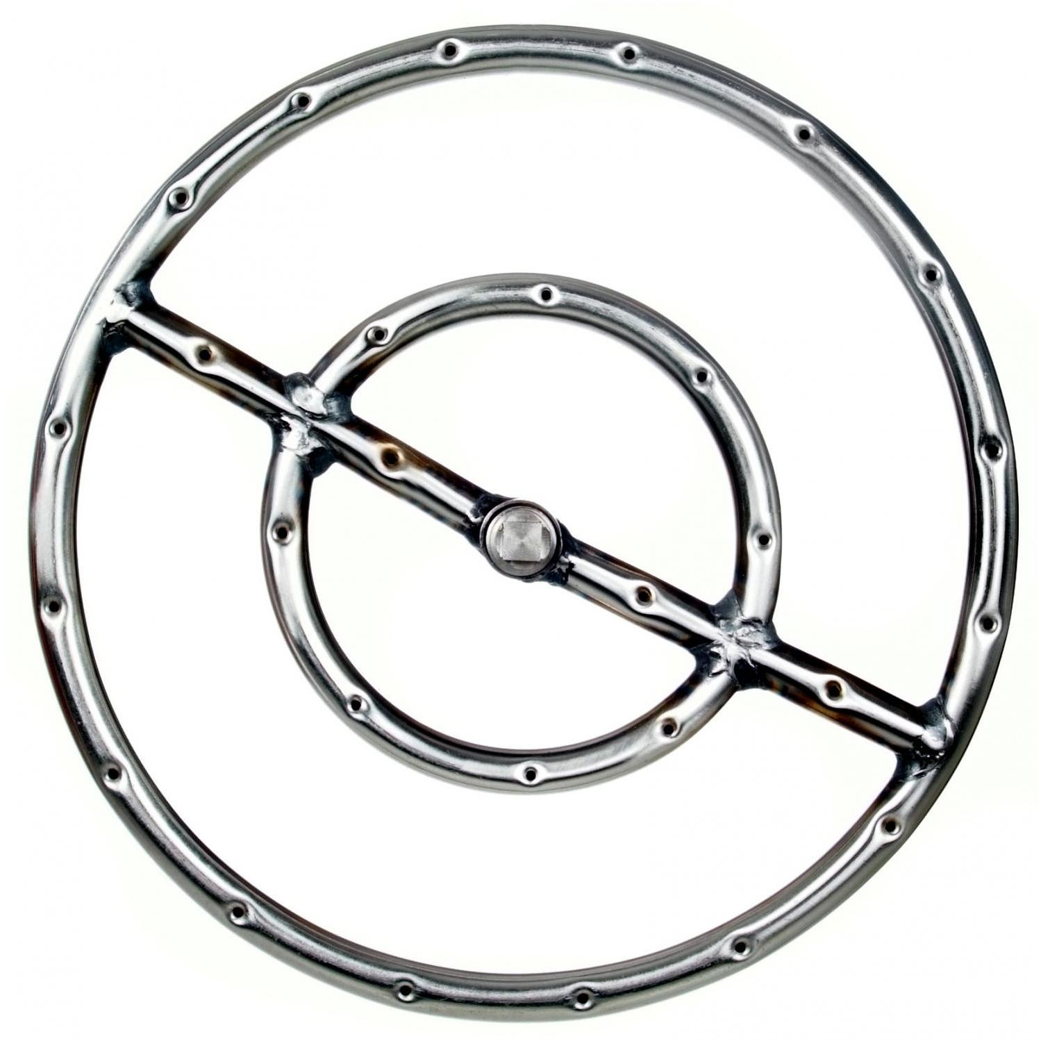 12 Inch Stainless Round Double Propane Fire Pit Ring