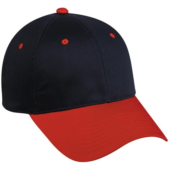 Outdoor Cap Structured Basic Cotton Twill Cap - Navy / Red, Discount ID GL-271-497